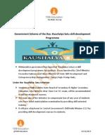 """Gov Scheme of the day -  """"Kaushalya Setu"""""""