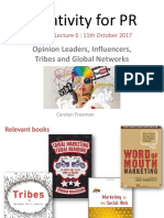 Lecture 6 Opinion Leaders Influencers Tribes and Global Networks