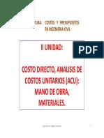 S 06-Costos-Costo Directo, ACU, Aporte Unitario de Materiales