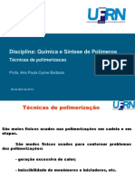 Aula 16 - Técnicas de Polimerizacao Ana P