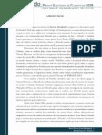 Apresentação Filosofando Revista Eletrônica de Filosofia da UESB, ISSN