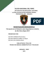 """""""Percepción de la Población sobre Seguridad en el distrito de ASA"""