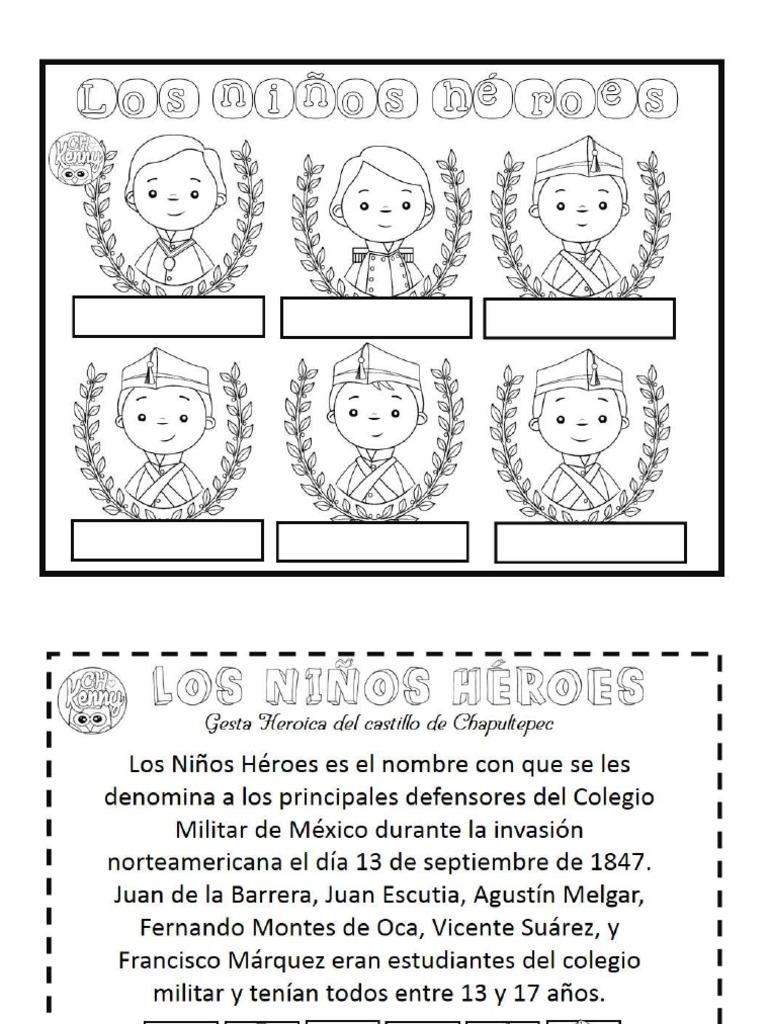 Imagenes Para Colorear Ninos Heroes Niños Heroés De Chapultepec Para