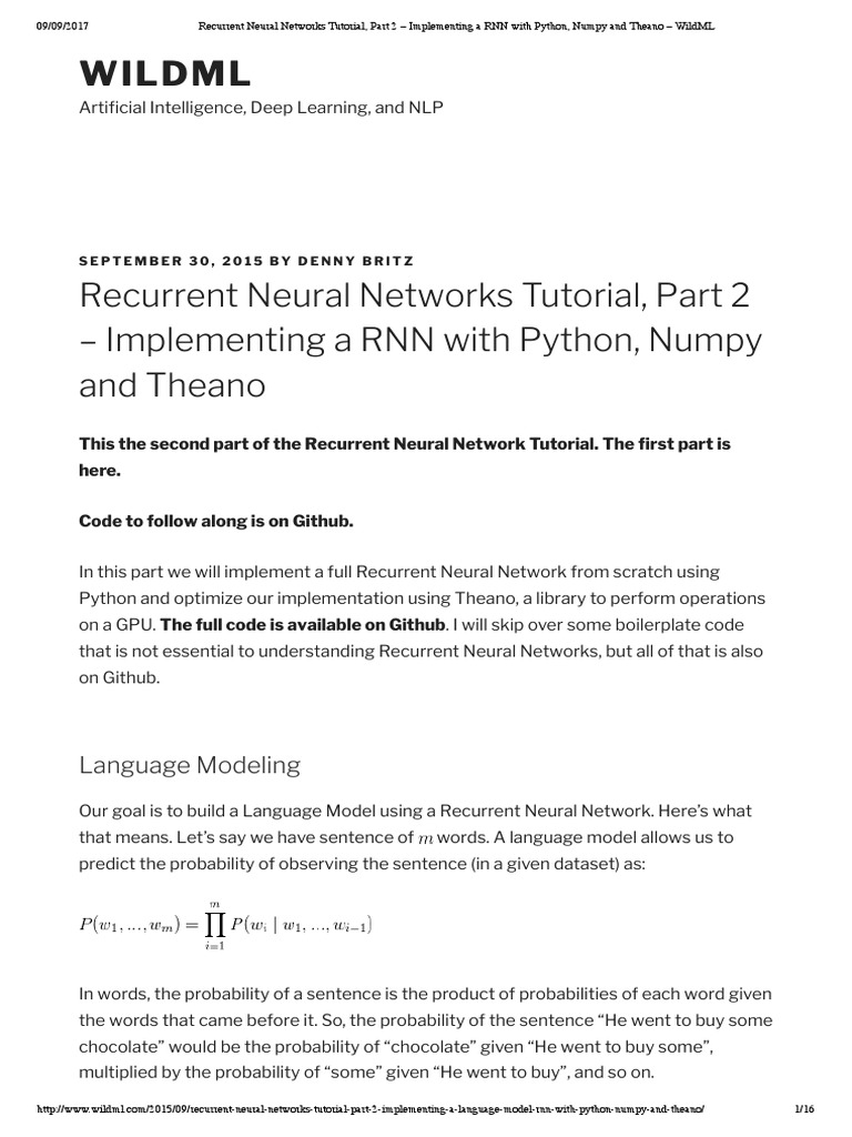 Recurrent Neural Networks Tutorial, Part 2 | Artificial