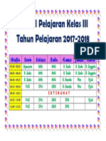 Jadwal Pelajaran Kelas III Tahun Pelajaran 2017