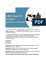 Nutrition in Animals Topic of CBSE Class 10 Science