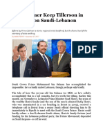 Did Kushner Keep Tillerson in the Dark on Saudi