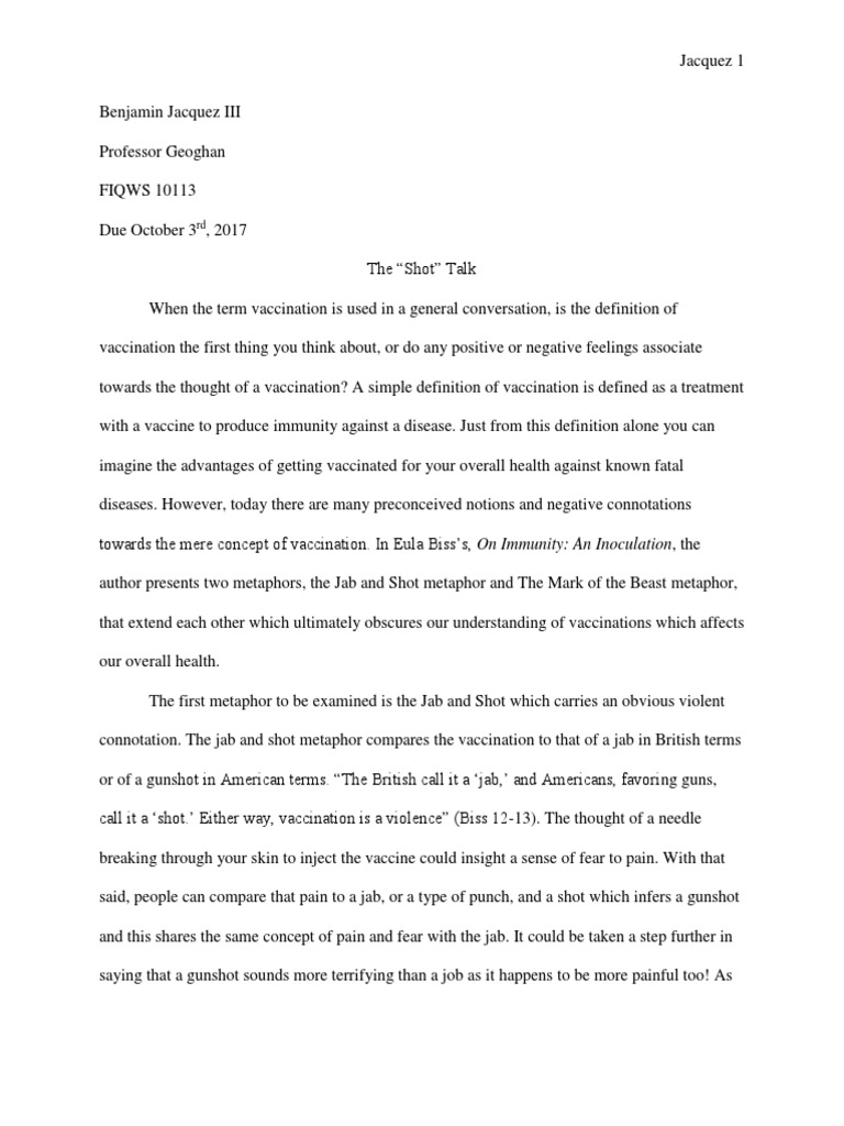 Metaphor Essay  Vaccines  Public Health  What Is A Thesis In An Essay also Sample Essays High School Students  Examples Of A Thesis Statement In An Essay