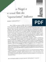 TURCHETO, M. Antonio Negri e o Triste Fim Do Operarismo Italiano (crítica marxista)