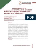 Una Mirada Al Desarrollo de La Investigacion Educativa en El Estado de Mexico. Instituciones Investigadores y Productos 2002-2012