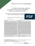 Aplicacion Del Modelo Servqual Para Evaluar La Calidad en El Servicio en Los Hospitales Publicos de Hermosillo Sonora