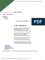 A Des Cimetières - François Tristan L'HERMITE