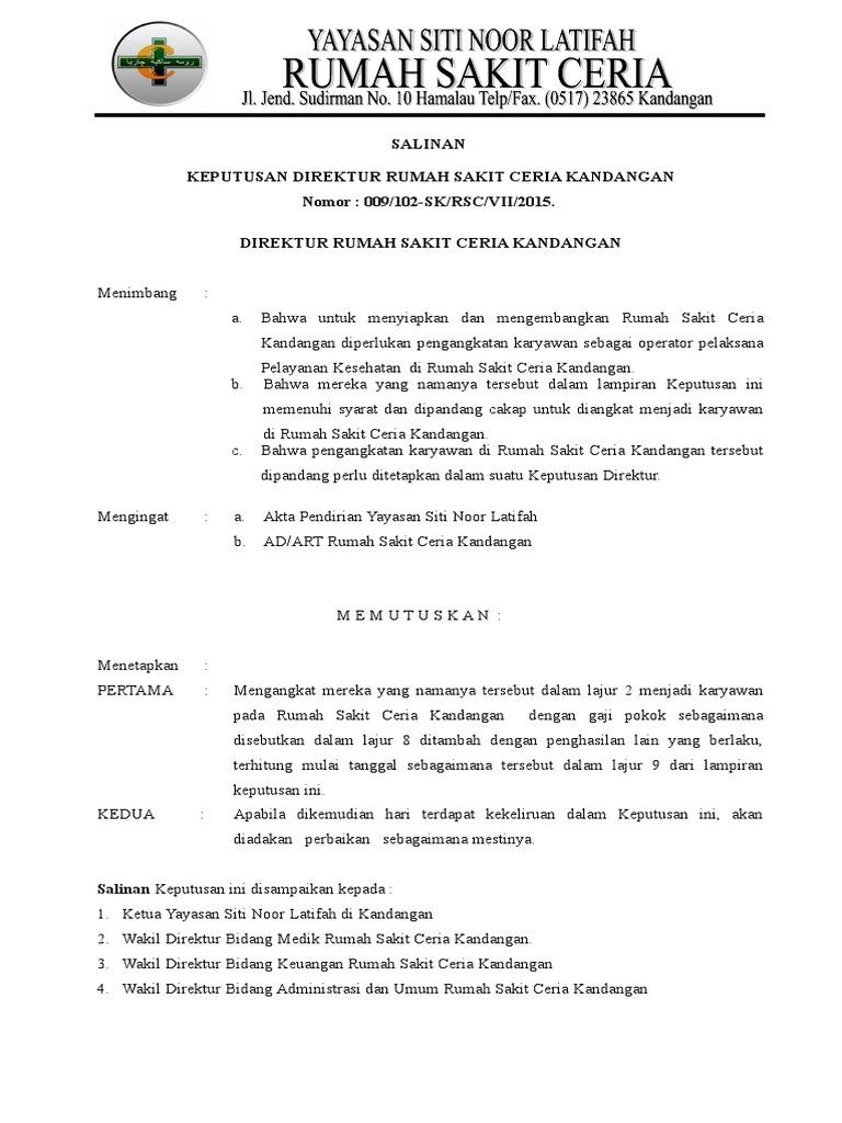 Surat Keputusan Gaji Karyawan