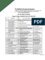 Date Sheet Mid-Term 2017 (Eveniing)