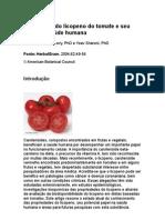 As funções do licopeno do tomate e seu papel na saúde humana
