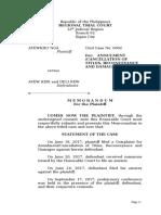Memorandum for the Plaintaiff