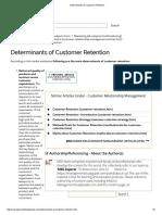 Determinants of Customer Retention
