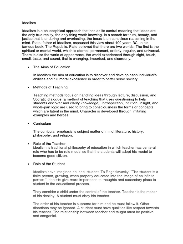 what is idealism in philosophy of education