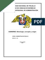 Etimología, concepto y origen del Gobierno