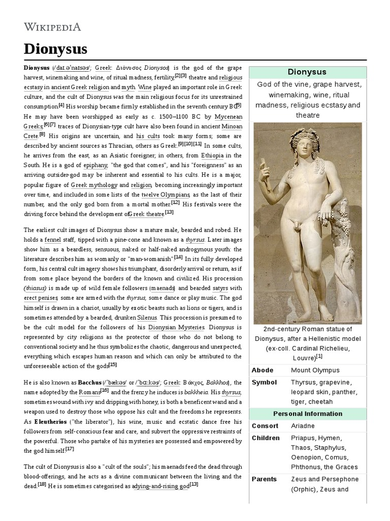 Dionysus Dionysus Greek Mythology