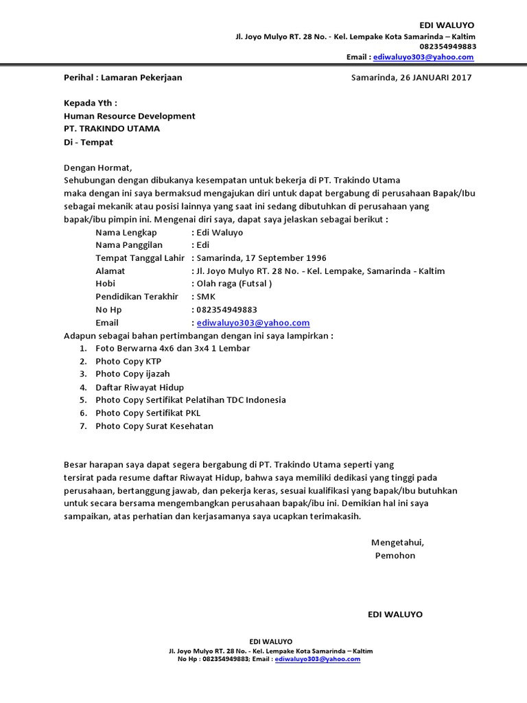 Contoh Surat Lamaran Kerja Dan Daftar Riwayat Hidup 1docx
