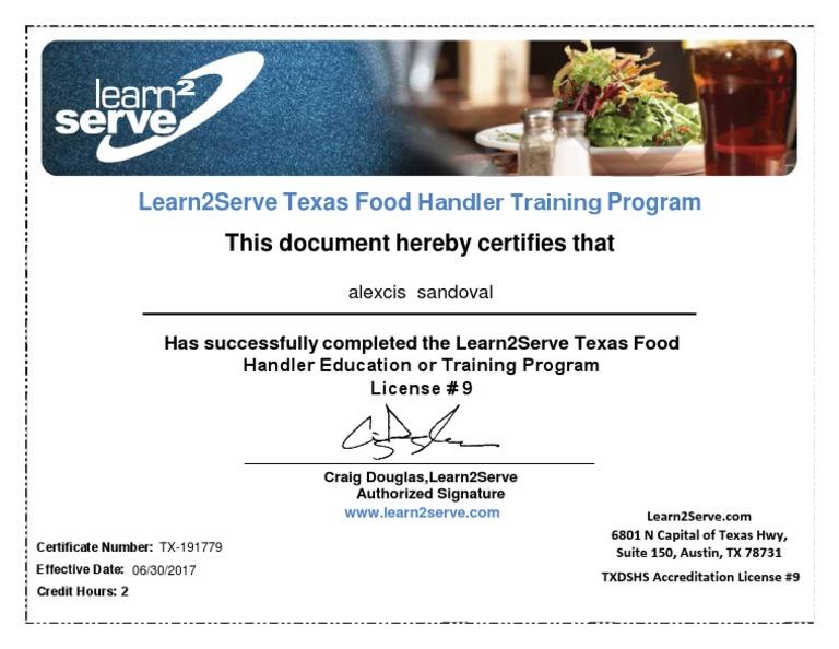 texas food handler training course
