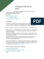 Inscripción en El Registro Nacional de Proveedores