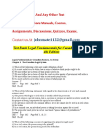 Test Bank Legal Fundamentals for Canadian Business 3rd Edition