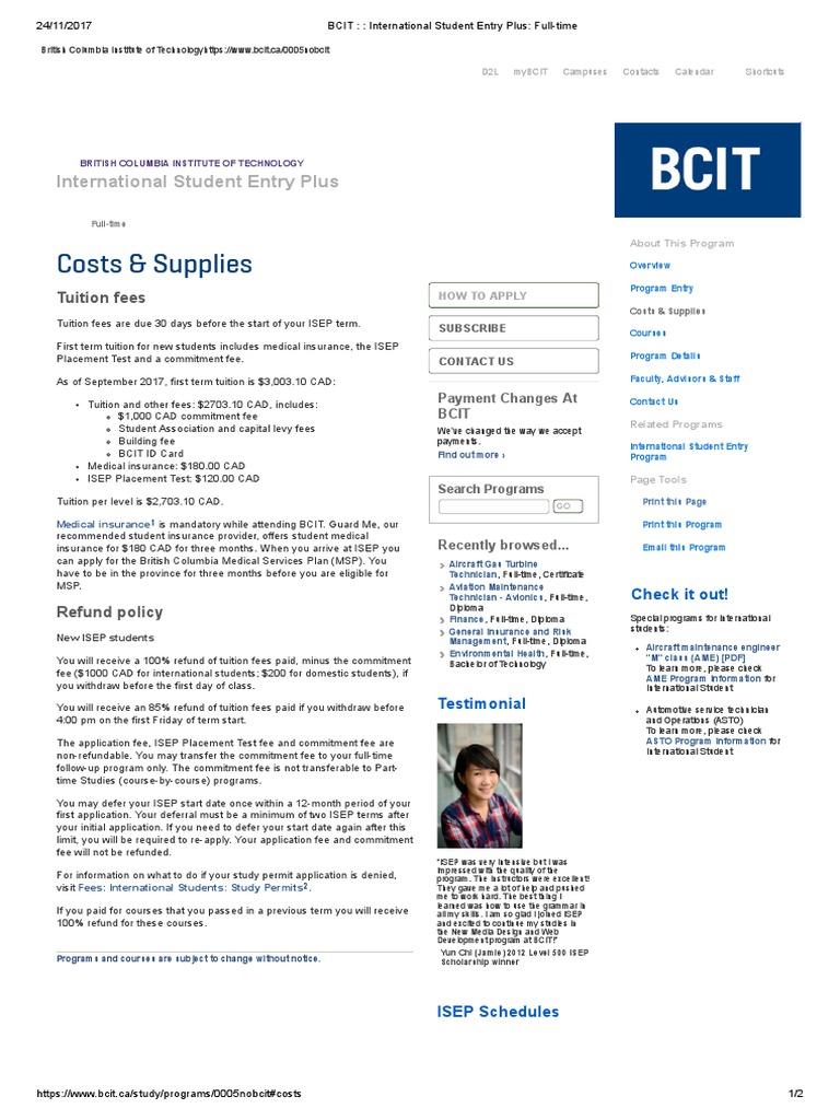 Bcit International Student Entry Plus Full Time Fee Learning