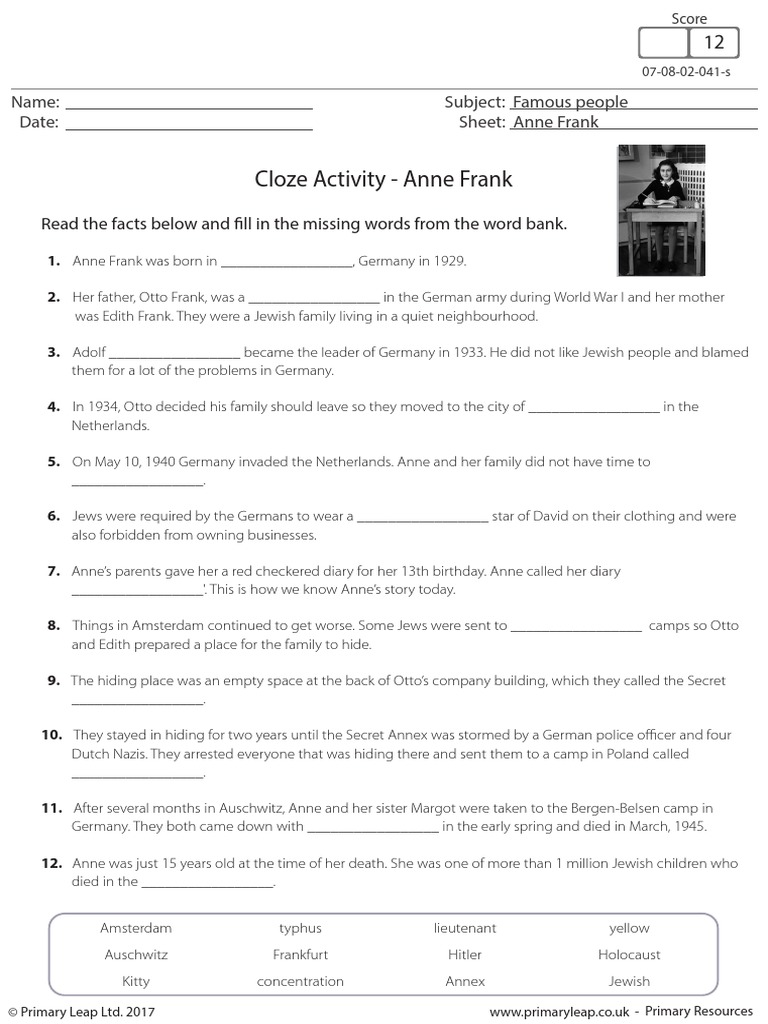 Anne Frank Cloze Activity   Anne Frank   The Holocaust