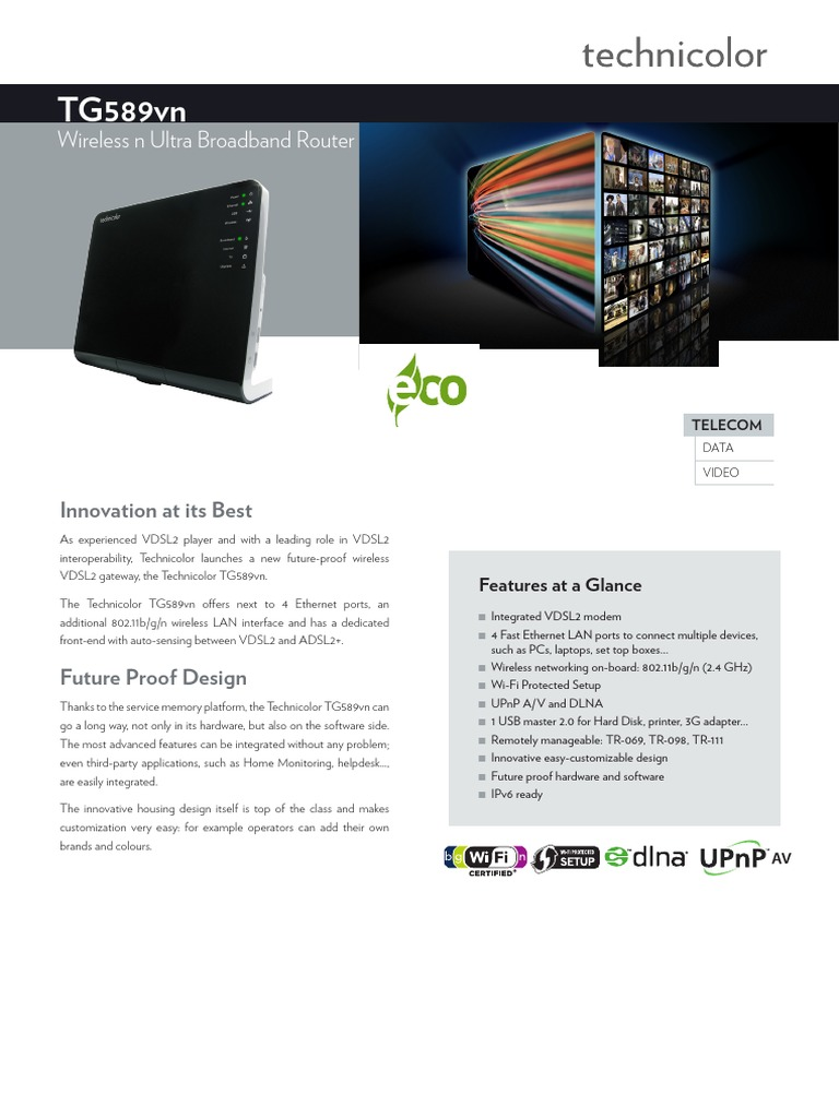 Datasheet Technicolor TG589vn | Wireless Lan | Wi Fi