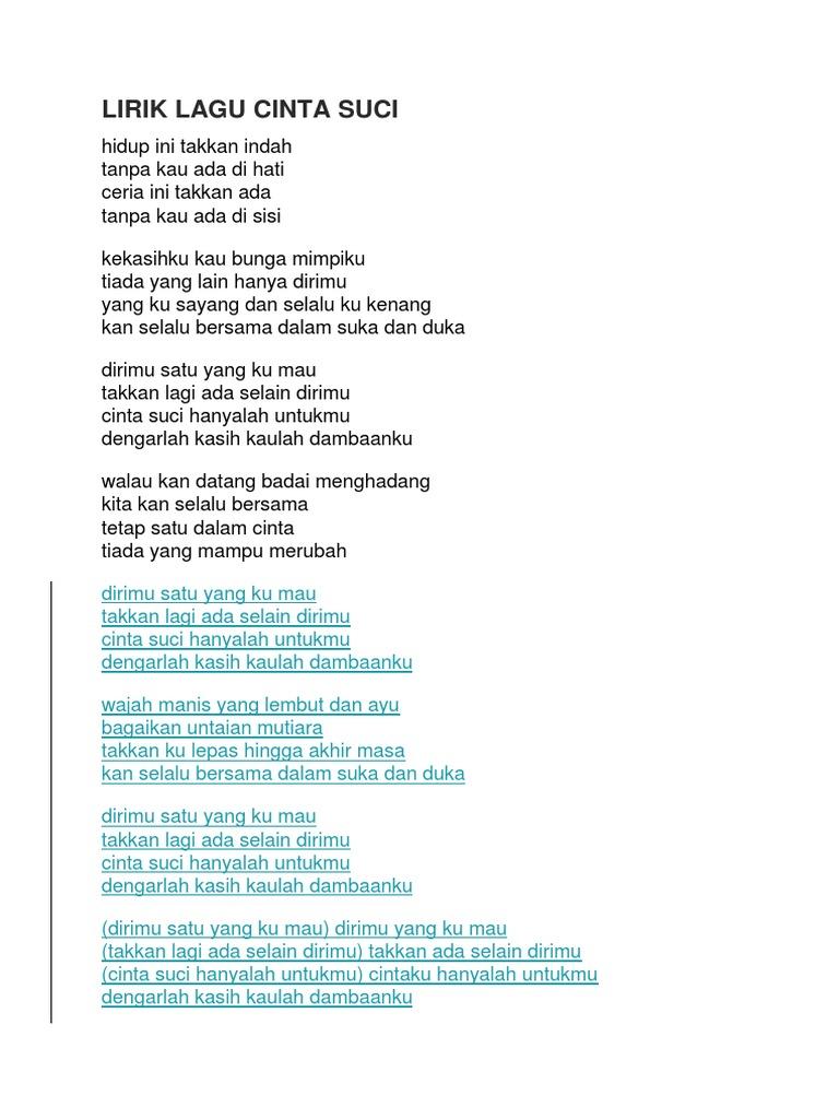 Lirik Lagu Cinta Suci
