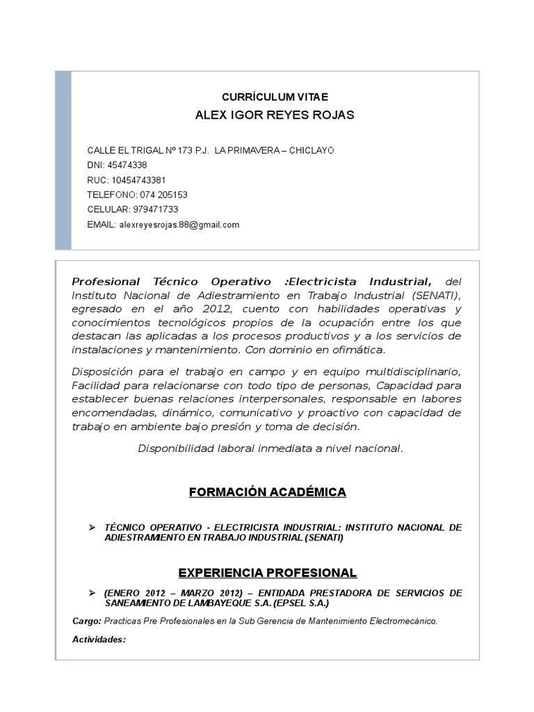 Cv _igor Reyes Rojas