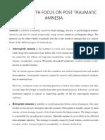Amnesia With Focus on Post Traumatic Amnesia