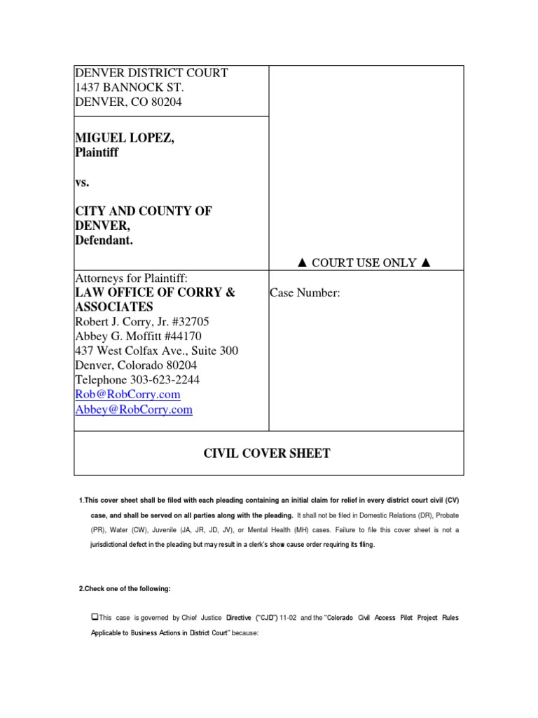 Miguel Lopez V City And County Of Denver Civil Document Class