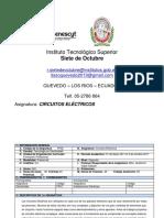 Syllabus. Circuitos Electricos