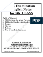 Revised English 5th Class Notes