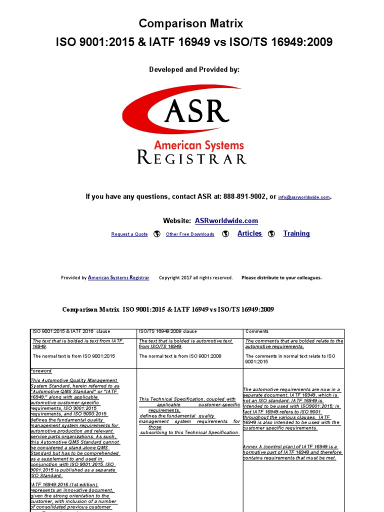 ISO-9001-2015-and-IATF-16949-vs-ISO-TS-16949-2009-Comparison-Matrix-by-American-Systems-Registrar(1).pdf  | Business Process | Quality Management System