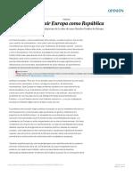 Construir Europa como República Opinión EL PAÍS
