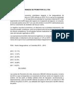 Finanzas de Promotora Aj Ltda