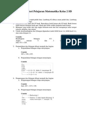 Materi Matematika Kelas 2 Sd Pdf Ilmusosial Id