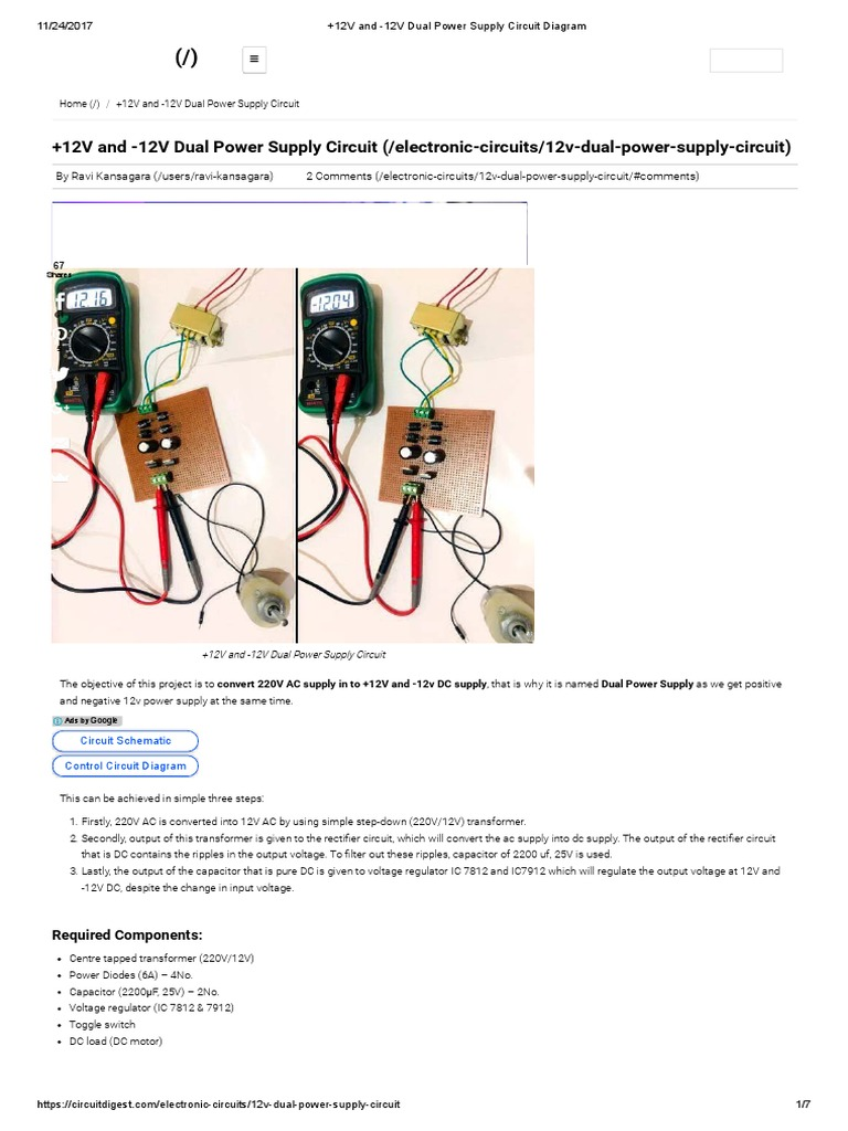Dual Power Supply 12v Blaise The Baker And Circuit Diagram Direct Current