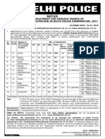 Official Notification for Delhi Police Recruitment