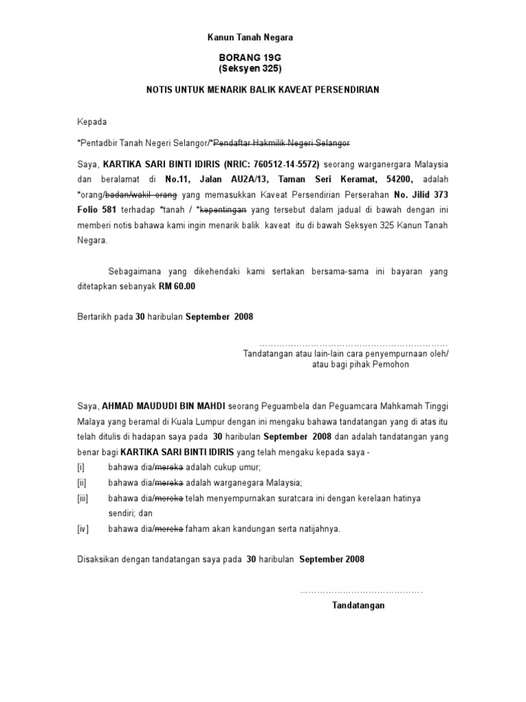 24 1 Form 19g Penarikan Caveat