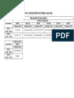 Jadwal Praktikum Fisika Dasar 2017