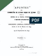 Apuntes Del Exministro de Estado Duque de Tetuan, 1902, Juan