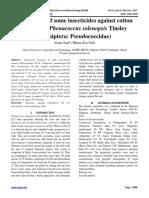 Bio-efficacy of some insecticides against cotton mealybug, Phenacoccus solenopsis Tinsley (Hemiptera