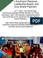 Dr. Frank Kaufmann Receives Interfaith Leadership Award, and Title