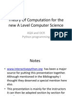 Theory of Computation Aqa Ocr