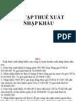 Bài tập thuế XNK có lời giải